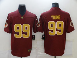 Mens Nfl Washington Redskins #99 Chase Young Red Gold Number Vapor Untouchable Limited Nike Jersey