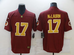 Mens Nfl Washington Redskins #17 Terry Mclaurin Red Gold Number Vapor Untouchable Limited Nike Jersey