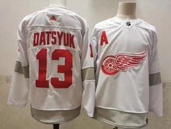 Mens Nhl Detroit Red Wings #13 Pavel Datsyuk White 2021 Reverse Retro Alternate Adidas Jersey