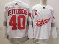Mens Nhl Detroit Red Wings #40 Henrik Zetterberg White 2021 Reverse Retro Alternate Adidas Jersey