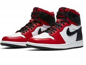 Mens Nike Air Jordan 1 Retro High Stain Snake Chicago Basketball Shoes Red