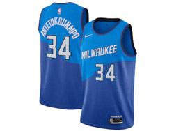 Mens Nba Milwaukee Bucks #34 Giannis Antetokounmpo Blue 2021 City Edition Swingman Nike Jersey