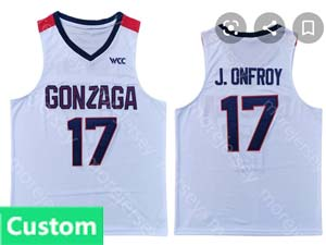 Mens Ncaa Nba Gonzaga Bulldogs Custom Made White Jersey