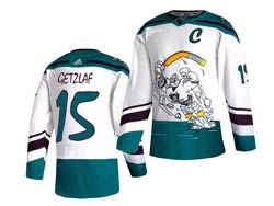 Mens Nhl Anaheim Mighty Ducks #15 Ryan Getzlaf Mighty White 2021 Reverse Retro Alternate Adidas Jersey