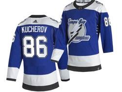 Mens Nhl Tampa Bay Lightning #86 Nikita Kucherov Blue 2021 Reverse Retro Alternate Adidas Jersey