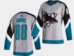 Mens San Jose Sharks #88 Brent Burns White 2021 Reverse Retro Alternate Adidas Jersey