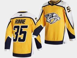 Mens Nhl Nashville Predators #35 Pekka Rinne Yellow 2021 Reverse Retro Alternate Adidas Jersey