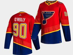 Mens Nhl St.louis Blues #90 Ryan O'reilly Red 2021 Reverse Retro Alternate Adidas Jersey