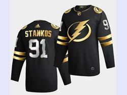 Mens Nhl Tampa Bay Lightning #91 Steven Stamkos Black Golden Adidas Jersey