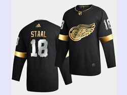 Mens Nhl Detroit Red Wings #18 Staal Black Golden Adidas Jersey
