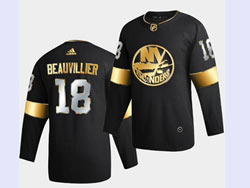 Mens Nhl New York Islanders #18 Anthony Beauvillier Black Golden Adidas Jersey
