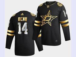Mens Nhl Dallas Stars #14 Jamie Benn Black Golden Adidas Jersey