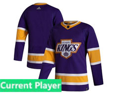 Mens Nhl Los Angeles Kings Current Player Purple 2021 Reverse Retro Adidas Jersey With C Patch