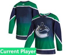 Mens Nhl Adidas Vancouver Canucks Current Player Blue 2021 Reverse Retro Alternate Adidas Jersey