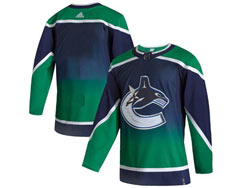 Mens Nhl Vancouver Canucks Blank Blue 2021 Reverse Retro Alternate Adidas Jersey