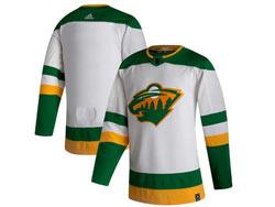 Mens Nhl Minnesota Wild Blank White 2021 Reverse Retro Alternate Adidas Jersey