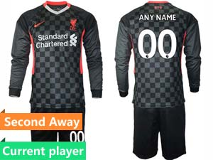 Mens 20-21 Soccer Liverpool Club Current Player Black Second Away Long Sleeve Suit Jersey