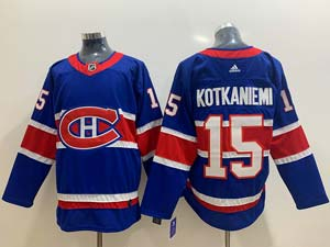 Mens Montreal Canadiens #15 Jesperi Kotkaniemi Blue 2021 Reverse Retro Alternate Adidas Jersey