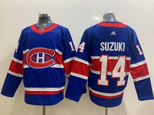 Mens Montreal Canadiens #14 Nick Suzuki Blue 2021 Reverse Retro Alternate Adidas Jersey