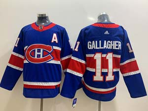 Mens Montreal Canadiens #11 Brendan Gallagher Blue 2021 Reverse Retro Alternate Adidas Jersey