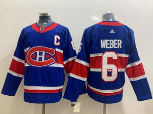 Mens Montreal Canadiens #6 Shea Weber Blue 2021 Reverse Retro Alternate Adidas Jersey