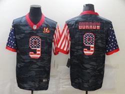 Mens Nfl Cincinnati Bengals #9 Joe Burrow 2020 Camo Usa Flag Salute To Service Limited Nike Jersey