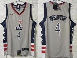 Mens Nba Washington Wizards #4 Russell Westbrook Gray 2020-21 City Edition Swingman Nike Jersey