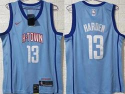 Mens Nba Houston Rockets #13 James Harden Light Blue 2021 City Edition Swingman Nike Jersey