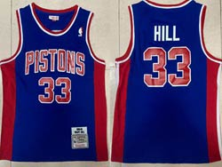 Mens Nba Detroit Pistons #33 Grant Hill Blue 1988-89 Mitchell&ness Hardwood Classics Swingman Jersey