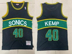 Mens Nba Seattle Supersonics #40 Shawn Kemp Black Green Stripe Mitchell&ness Hardwood Classics Jersey