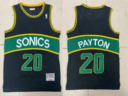 Mens Nba Seattle Supersonics #20 Gary Payton Black Green Stripe Mitchell&ness Hardwood Classics Jersey