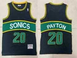 Mens Nba Seattle Supersonics #20 Gary Payton Black Green Stripe Mitchell&ness Hardwood Classics Jersey