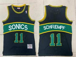 Mens Nba Seattle Supersonics #11 Detlef Schrempf Black Green Stripe Mitchell&ness Hardwood Classics Jersey