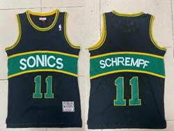 Mens Nba Seattle Supersonics #11 Detlef Schrempf Black Green Stripe Mitchell&ness Hardwood Classics Jersey