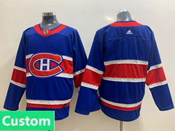 Mens Montreal Canadiens Custom Made Blue Reverse Retro 2020-21 Adidas Jersey