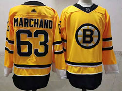 Mens Nhl Boston Bruins #63 Brad Marchand Yellow 2021 Reverse Retro Alternate Adidas Jersey