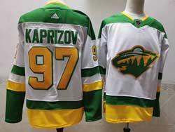 Mens Nhl Minnesota Wild #97 Kaprizov White 2021 Reverse Retro Alternate Adidas Jersey
