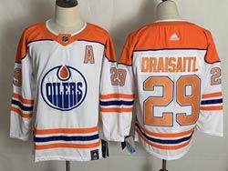Mens Nhl Edmonton Oilers #29 Leon Draisaitl White 2021 Reverse Retro Alternate Adidas Jersey