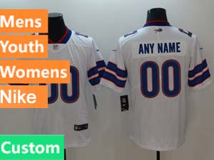 Mens Women Youth Nfl Buffalo Bills White Custom Made Vapor Untouchable Limited Jersey