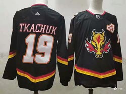 Mens Nhl Calgary Flames #19 Matthew Tkachuk Black 2021 Reverse Retro Alternate Adidas Jersey