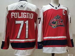 Mens Nhl Columbus Blue Jackets #71 Nick Foligno Red 2021 Reverse Retro Alternate Adidas Jersey
