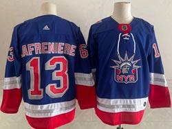 Mens Nhl New York Rangers #13 Alexis Lafrenière Light Blue 2021 Reverse Retro Alternate Adidas Jersey