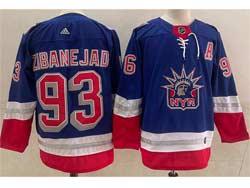 Mens Nhl New York Rangers #93 Mika Zibanejad Light Blue 2021 Reverse Retro Alternate Adidas Jersey