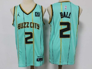 Mens 2020-21 Nba Charlotte Hornets #2 Lonzo Ball Green City Edition Swingman Jordan Jersey