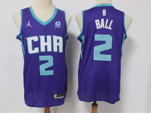 Mens Nba Charlotte Hornets #2 Lamelo Ball With Path Purple Jordan Swingman Jersey
