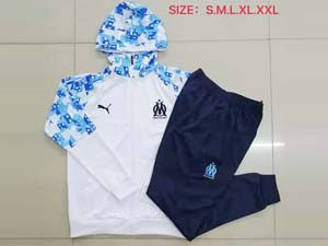 Mens 20-21 Soccer Olympique De Marseille Club Royal Blue White Hoodies And Blue Sweat Pants Training Suit ( 2 Color )