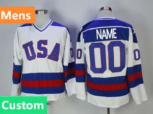 Mens Nhl Team Usa Custom Made White 1980 Year Throwbacks Ccm Jersey