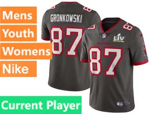 Mens Women Youth Nfl Tampa Bay Buccaneers 2021 Super Bowl Lv Bound Gray Current Player Vapor Untouchable Limited Jersey