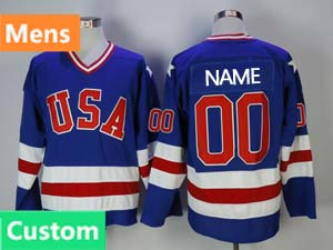 Mens Nhl Team Usa Custom Made  Blue 1980 Year Throwbacks Ccm Jersey