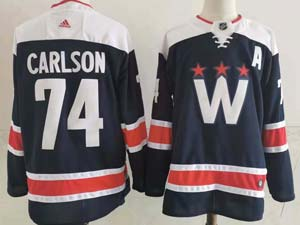 Mens Nhl Washington Capitals #74 John Carlso 2020-21 Alternate Premier Adidas Blue Navy Jersey